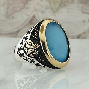 Solid 925 Sterling Silver Mens Ring Blue Turquoise Gemstone HandMade Turkish