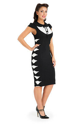 VOODOO VIXEN BLACK SIDE BOWED PENCIL DRESS ROCKABILLY PETER PAN VINTAGE EVENING