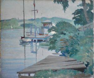 Tableau-ancien-huile-034-Bord-de-riviere-034-1933