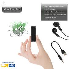 REGISTRATORE VOCALE MICRO SPY 8GB MINI AUDIO REC SPIA AMBIENTALE MP3 PEN DRIVE