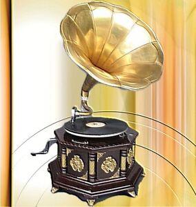 Adaptable Grammophon Holz Achteck Farbig Vintage Dekoration Mahagoni Party Gag Geschenk Antiquitäten & Kunst Mechanische Musik