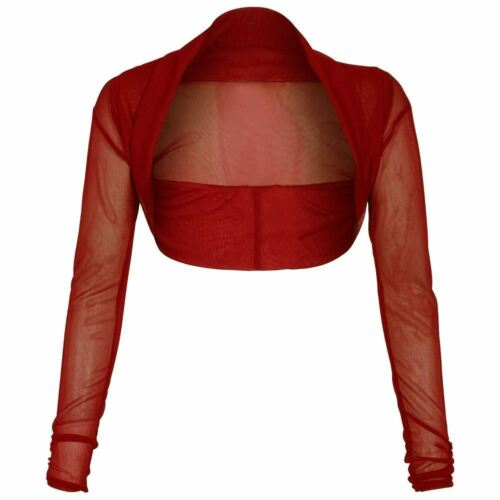 New Womens Ladies Sheer Mesh Chiffon Bolero Shrug Long Sleeve Crop Cardigan Tops
