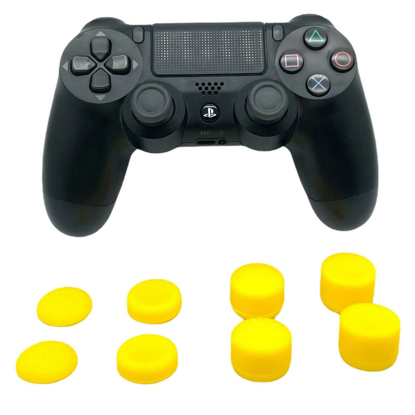 (YELLOW) 8 PACK ThumbStick Cover Joystick Grip Caps Extenders For PS4 Controller