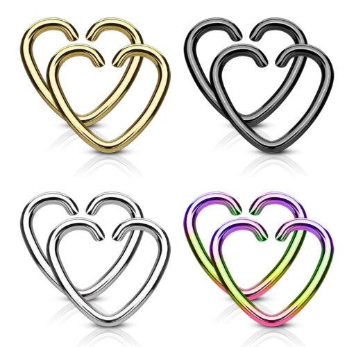 4 PAIR Heart Hoop EAR Rings Cartilage Helix Daith Rook Tragus PIERCING Jewelry