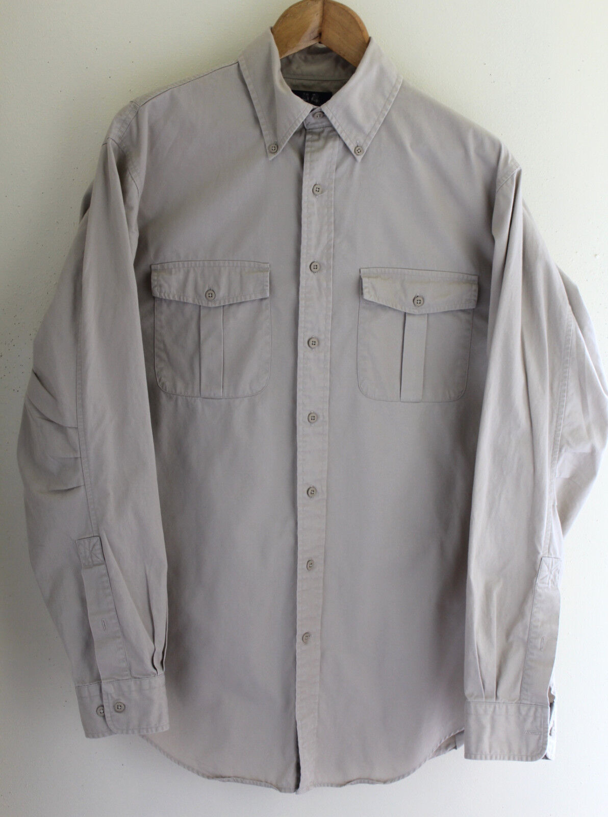 WILLIS & GEIGER Vintage Mens Light Khaki Twill Shirt M 15-15.5 Tall