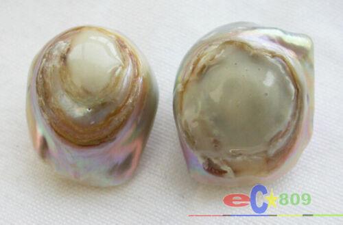 P3400 21 mm Nature paon violet Keshi reborn Pearl Stud Earring À faire soi-même Crochet
