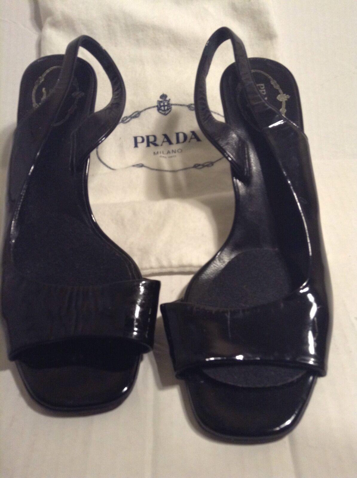 Adorable Auténtico Prada Negro Patente Slip On Tacones Talla Talla Talla 39  tiendas minoristas