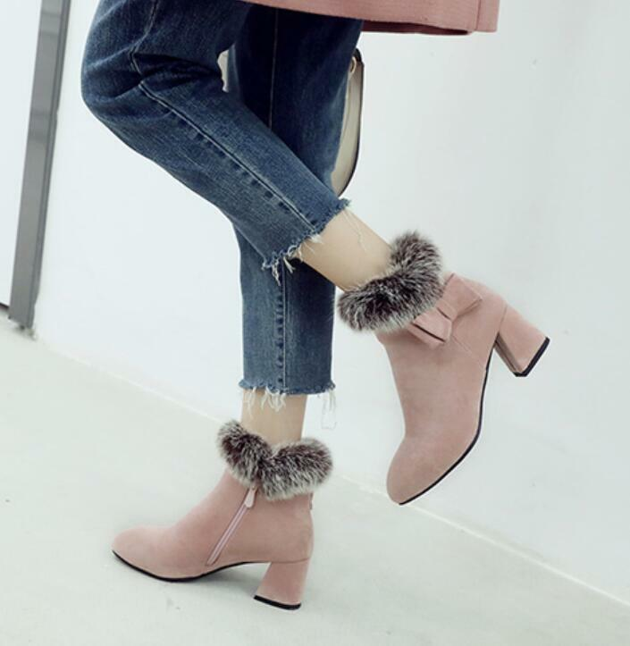 Womens Fur Casual Chunky Med Heels Ankle Boots Warm Suede Side Zip Bow Fashion