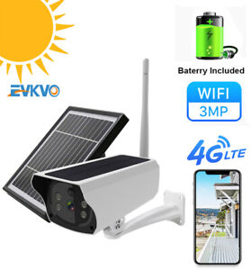 4G LTE SIM 3MP IP Camera Solar Panel Rechargeable Battery Waterproof PIR Motion