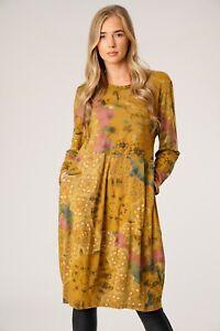 Femmes-Italien-Lagenlook-Manche-Longue-Confortable-2-Poche-Quirky-Floral-Tunique-robe
