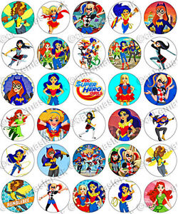 30 X Dc Superhero Girls Party Edible Rice Wafer Paper
