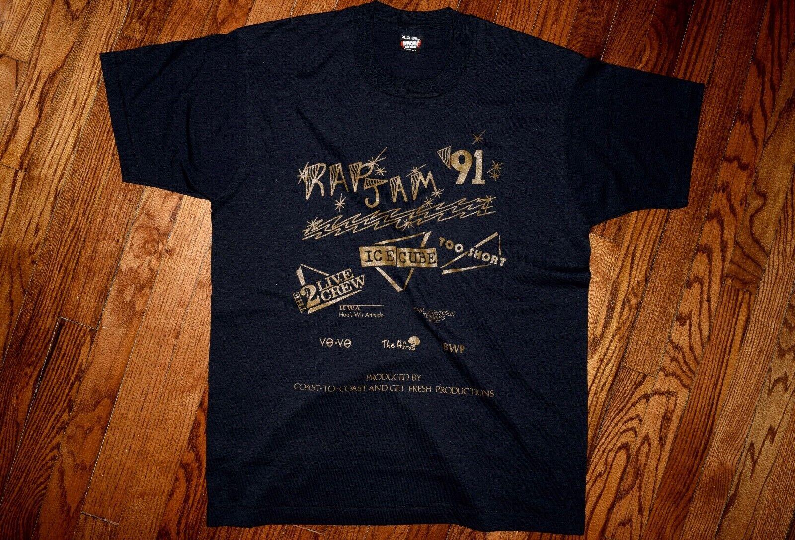 Rap Jam 1991 2 live crew too short hip hop vintage 90s concert ice cube T-shirt