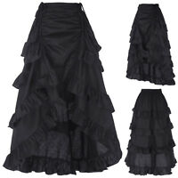 Black Gothic Corset Skirt Victorian Steampunk Long Ruffle Fishtail Vintage Skirt