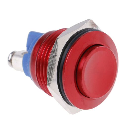 1PC 19mm waterproof red momentary metal push button reset switch high head   JH