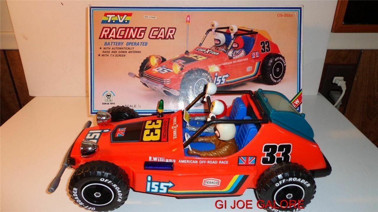 T.V. RACING CAR BATTERY OPERATED CIEN GE TOYS 1970's(TRADE MARK)RARE HTF