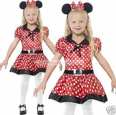 Smiffys Girls Mini Mouse Fancy Dress Costume & Ears World Book Week Outfit 4-12
