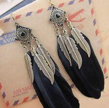 Boucles d'oreille boheme hippie chic avec plume noire et plume couleur bronze