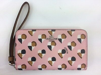 New Authentic Coach F25963 Phone Wallet Wristlet with Checker Heart Print Pink