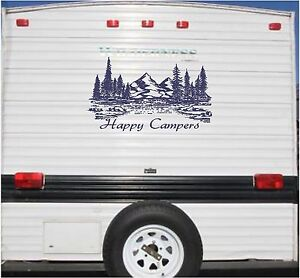 Image Is Loading Mountain Landscape Happy Campers Camper RV Vinyl Decal
