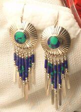 Estate Sterling Silver Turquoise & Lapis Fringe Dangle Earrings TK Signed
