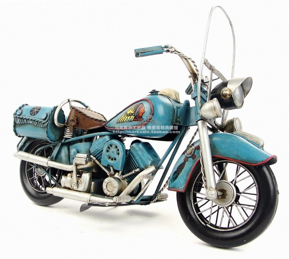 Vintage Handmade Indian Motorcycle Model Diecast Iron Art Crafts Metal Toy Gift