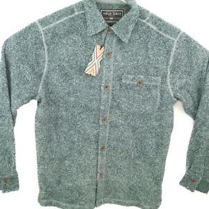 True-Grit-Mens-Melange-Solid-and-Plaid-Blanket-One-Pocket-Big-Shirt-Solid-Blue-M