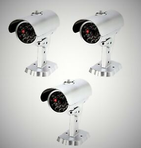 Mitaki-Japan-SET-of-3-Dummy-Fake-Bullet-Security-Camera-With-Blinking-Red-Light