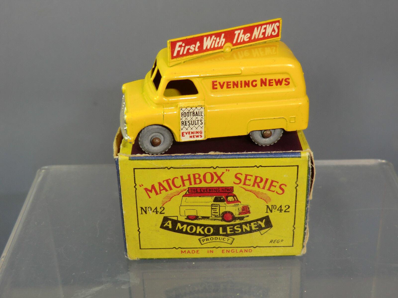 MATCHBOX MATCHBOX MATCHBOX MOKO LESNEY MODEL No.42a     EVENING NEWS VAN ( BEDFORD )    MIB 402b4d