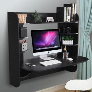 Coner-Desk-Floating-Wall-Mounted-Computer-Laptop-Table-Bookshelf-Storage-Black