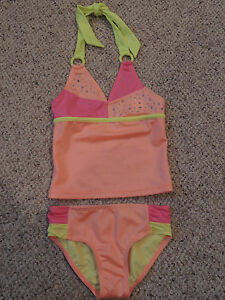 Justice Swimsuit Tankini Orange Aztec Girls Swim Wear Suit 2 Piece Size 8 New