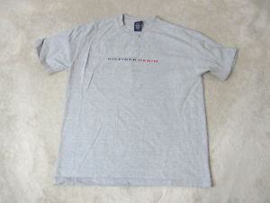 37c05957d600 VINTAGE Tommy Hilfiger Shirt Adult Large Gray Red Box Logo Spell Out ...