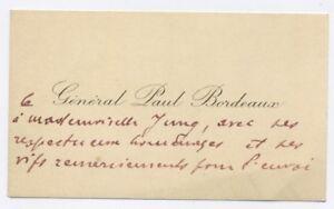 Lettre Manuscrite General Paul Rene Bordeaux Sur Carte