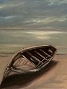 ORIGINAL-Signed-Handmade-Oil-painting-on-canvas-23x17-039-039-boat-sea-beach-shore