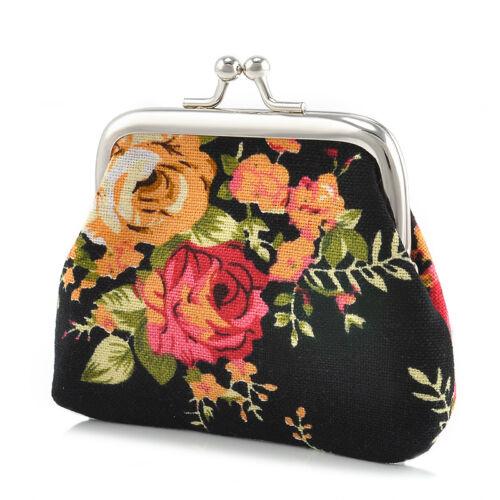 Women Flower Coin Change Kisslock Purse Hasp Canvas Clutch Small Wallet Bag