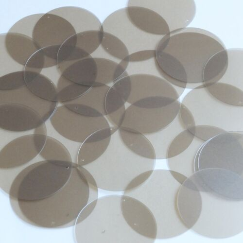 Round Sequin 40mm Light Olive Transparent Satin and Matte Reversible Paillettes