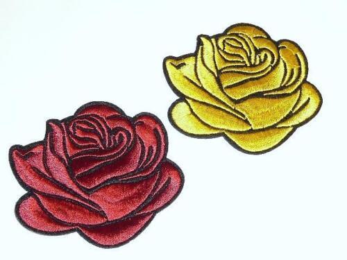 A039-A040 Apliques Bordados-Hierro en rojo o rosa amarilla.