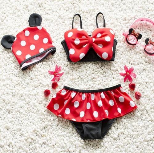 Cute Baby Girls Toddler Kids Swimwear Bikini Sets Tankini Polka Dots Swim Skirt