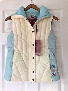Brand-New-Womens-Firetrap-Turquoise-amp-Cream-Body-Warmer-Sleeveless-Jacket-Small