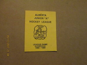 Alberta Junior A Hockey League Fort Traders 1988-89 Logo Hockey Pocket Schedule