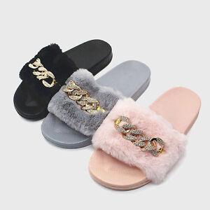 Women Fur Chain Sliders Rubber Mules Slipper Slip On Flat Girls ... 0e0fd79454