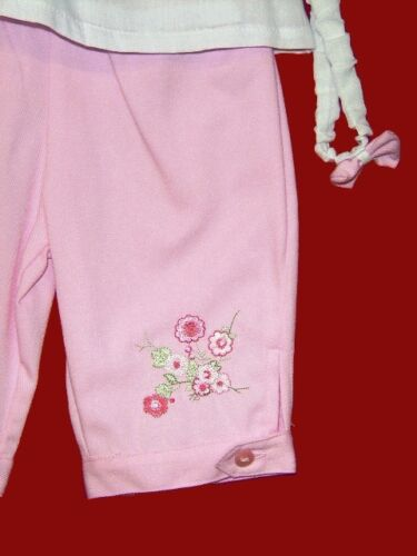 NEW ZIP ZAP CLASSY BABY GIRLS EMBROIDERED  TOP /& TROUSERS OUTFIT SET 0-18 Months