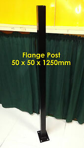 Fence-Flange-Post-50-x-50-x-1250mm-Bolted-Post-Black