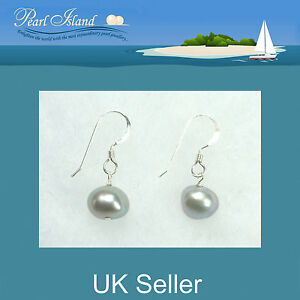 Image Is Loading Freshwater Pearl Earrings With Silver Grey Baroque Pearls