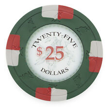 "25 ct Green $25 Twenty-Five Dollars ""Poker Knights"" Series 13.5g Poker Chips"