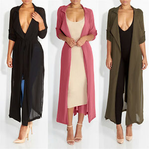 Elegant Women Kimono Jacket Long Sleeve Maxi Cardigan Chiffon Coat ...