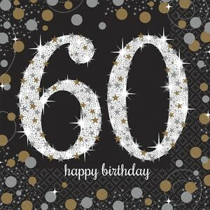 60eme-Noir-Brillant-Celebration-33cm-Serviettes-En-Papier-Pour-Fete-1-96pk