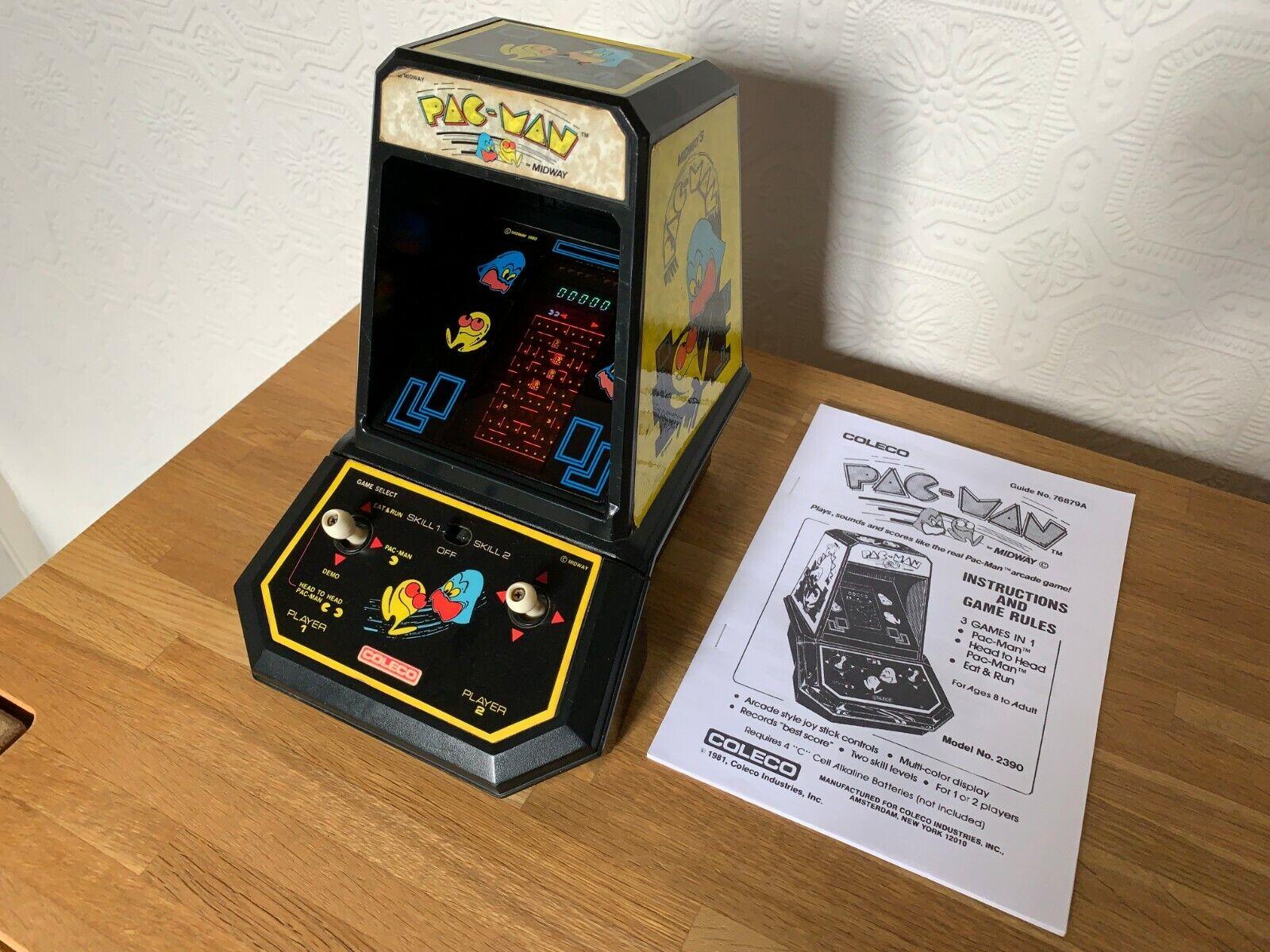 Extremamujerte Raro Coleco Pac-man Vintage 1981 VFD tabletop juego electrónico en en muy buena condición.