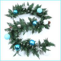 6 / 9ft Christmas Xmas Decor Pine Needles Garland Rattan Decoration Blue Ball Mx
