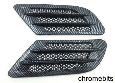 2x  Side Wing Air Flow Intake Vent Trim Fender Grill Universal Black Carbon NEW