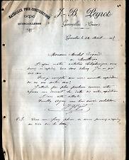 """GENOUILLAT (23) MATERIAUX de CONSTRUCTION / QUINCAILLERIE """"J.B PEYROT"""" en 1907"""